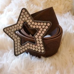 Adorable fashion belt with rhinestone star buckle